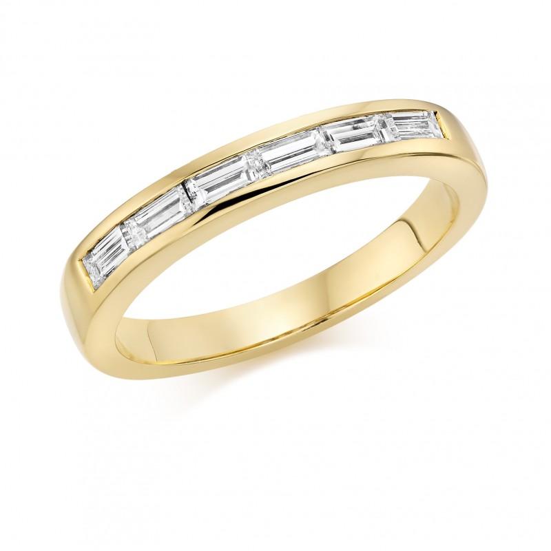 c49d1768592ec1 18ct yellow gold baguette cut diamond half eternity ring 0.38cts