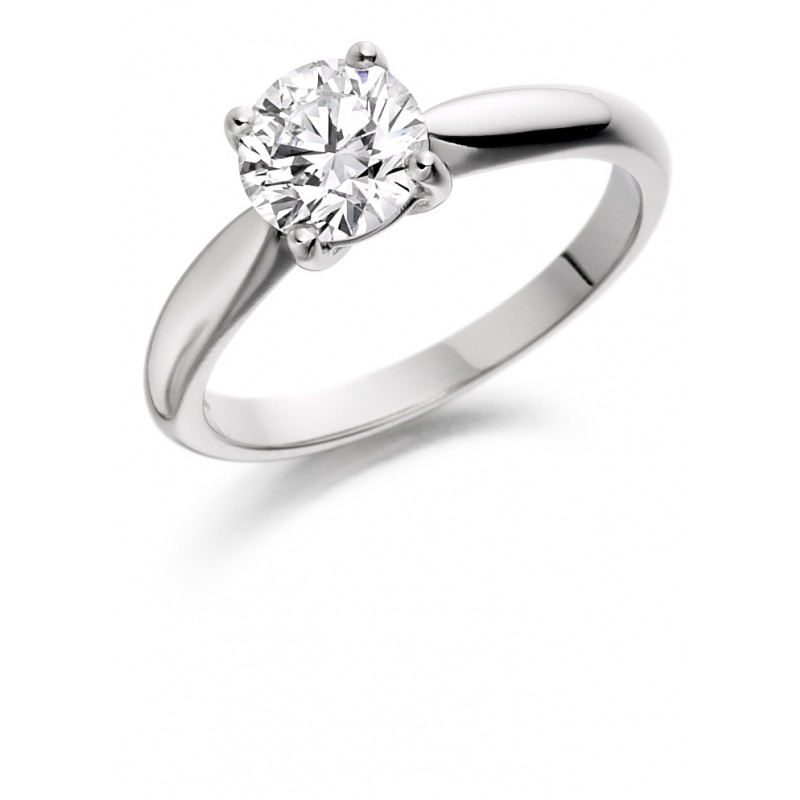 da8556638 Platinum four claw Alessia round cut diamond solitaire ring 0.90cts