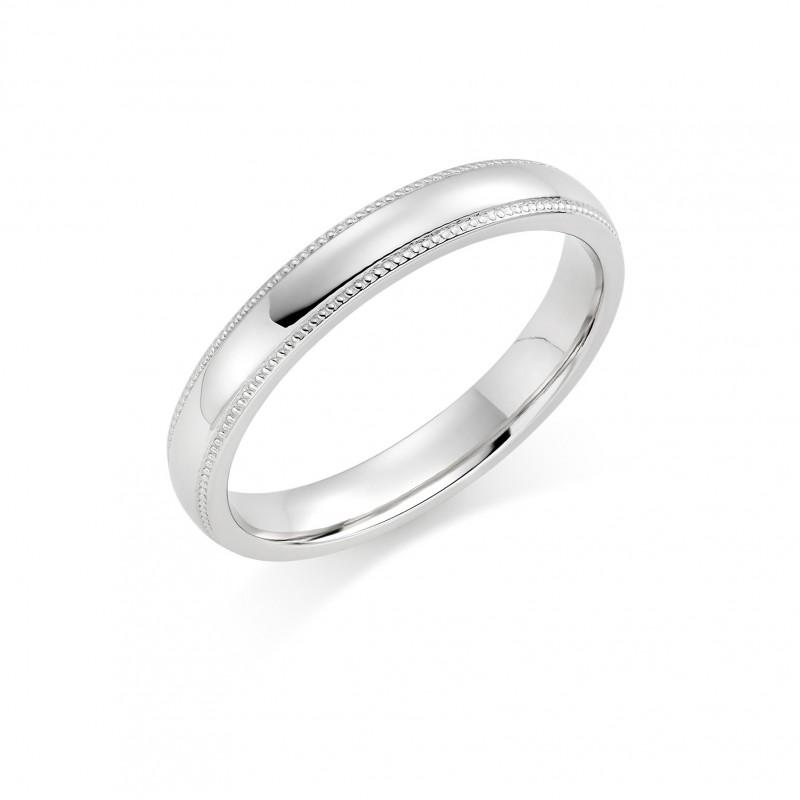 Platinum 3mm Oxford beaded edge wedding ring Rennie Co