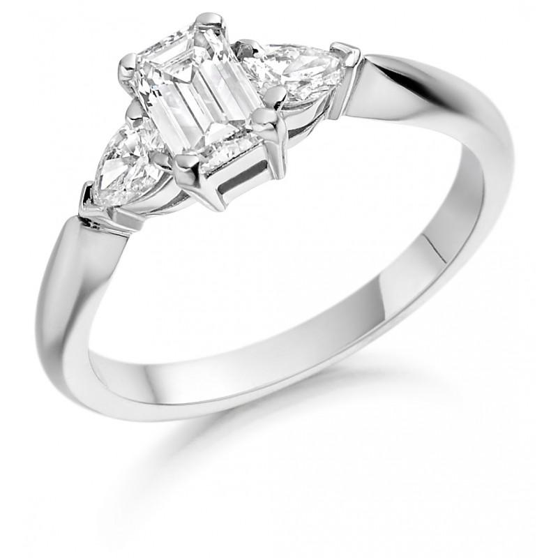 325018ac5fd91 Platinum Gabriella emerald cut diamond ring, diamond set shoulders 0.82cts