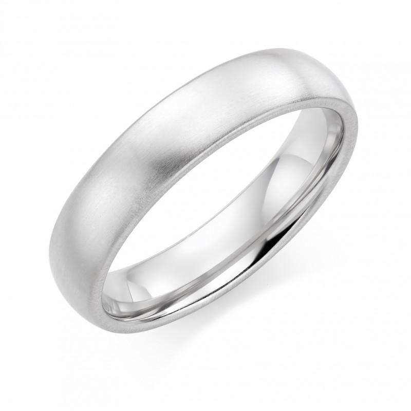 Platinum brushed finish 5mm Oxford wedding ring