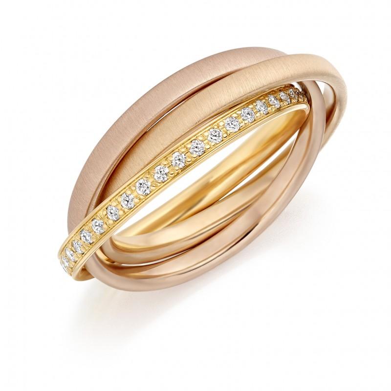 18ct three colour gold diamond set Russian wedding ring Hatton