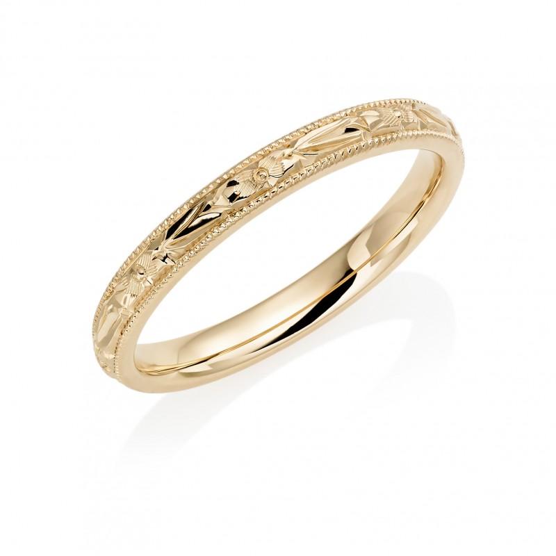 18ct Rose Gold 25mm Orange Blossom Wedding Ring