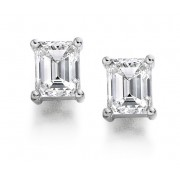 Platinum Alessandra emerald cut diamond earrings 0.81cts