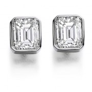 Platinum Esta emerald cut diamond earrings 0.83cts