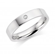 Platinum 4mm Lucia diamond wedding ring 0.04cts