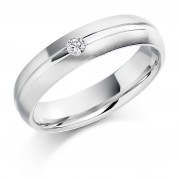 Platinum 4.5mm Terza diamond wedding ring 0.04cts