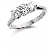 Platinum Adrina round cut diamond three stone ring 0.84cts