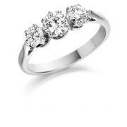 Platinum Elene round cut diamond three stone ring 1.00cts