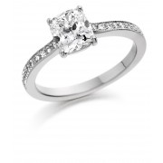 Platinum Liliana cushion cut diamond solitaire ring, diamond shoulders 1.12cts