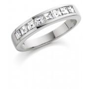 Platinum Alexandra carré cut diamond half eternity ring 0.79cts