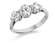 Platinum Contessa round cut three stone ring 0.86cts