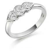 Platinum Donatella three stone diamond ring 0.72cts