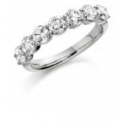 Platinum Claudina round cut diamond half eternity ring 1.28cts