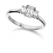 Platinum Ottavia emerald cut diamond three stone ring 0.62cts