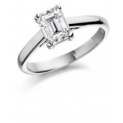 Platinum Lunetta emerald cut diamond solitaire ring