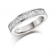 Platinum Alexandra baguette cut diamond true half eternity ring 0.54cts