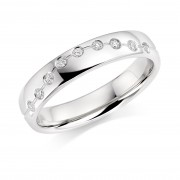 Platinum 4mm Cannelita diamond wedding ring 0.09cts