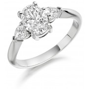 Platinum Gabriella oval cut diamond ring, diamond set shoulders 1.23cts
