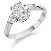 Platinum Gabriella oval cut diamond ring, diamond set shoulders 1.23cts