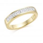 18ct yellow gold Alexandra princess cut diamond half eternity ring 0.73cts