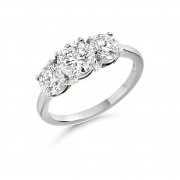 Platinum Grazia round cut diamond three stone ring 1.52cts