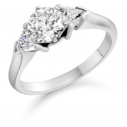 Platinum Editta round cut diamond solitaire ring, diamond shoulders 1.22cts