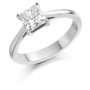 Platinum Cammeo princess cut diamond solitaire ring 1.02cts