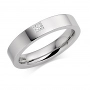 Platinum 4mm Lucia diamond wedding ring 0.08cts