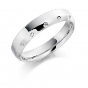 Platinum 4mm Agnella diamond wedding ring 0.07cts