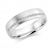 Platinum 5mm Aida diamond wedding ring 0.10cts