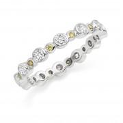 Platinum Rosa yellow and white diamond full eternity ring 0.86cts