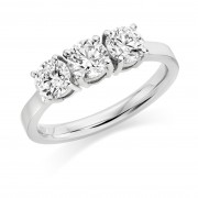 Platinum Arabella round cut diamond trilogy ring 1.26cts