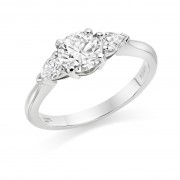 Platinum Gabriella round cut diamond ring, diamond set shoulders 1.00cts