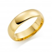 18ct yellow gold 6mm Oxford wedding ring