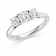 Platinum Liona round cut diamond three stone ring 0.96cts