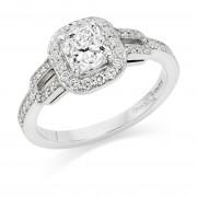 Platinum Oriana cushion cut diamond halo ring, diamond shoulders 0.88cts