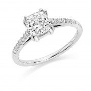 Platinum Fia cushion cut diamond solitaire ring, diamond shoulders 1.37cts