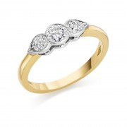 18ct yellow gold Donatella three stone diamond ring 0.77cts