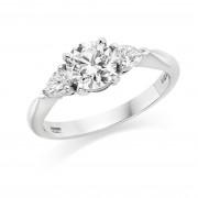 Platinum Gabriella round cut diamond ring, diamond set shoulders 0.90cts