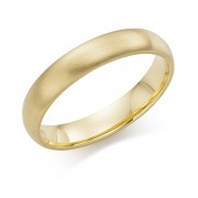 18ct yellow gold brushed finish 4mm Cambridge wedding ring