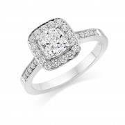 Platinum Letizia cushion and round cut diamond halo ring, diamond shoulders 1.18cts