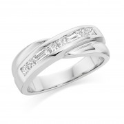 Platinum Carmelina princess and baguette cut diamond eight stone ring 0.50cts