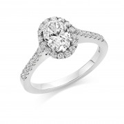Platinum Pianeti oval halo ring, diamond shoulders 1.19cts