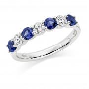 Platinum Claudina sapphire & diamond half eternity ring