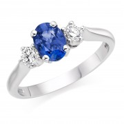 Platinum Nella oval shape sapphire & diamond three stone ring
