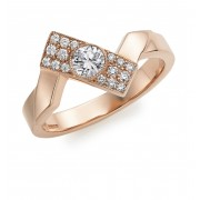 18ct rose gold diamond set Deco Fusion offset ring