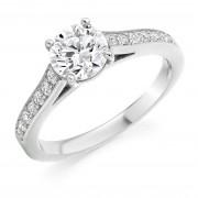 Platinum Nuovo Duplice round cut diamond solitaire ring, diamond shoulders 0.71cts