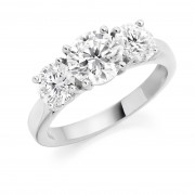 Platinum Liona round cut diamond three stone ring 2.04cts