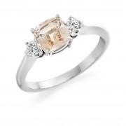 Platinum Nella cushion shape peach colour sapphire & diamond three stone ring